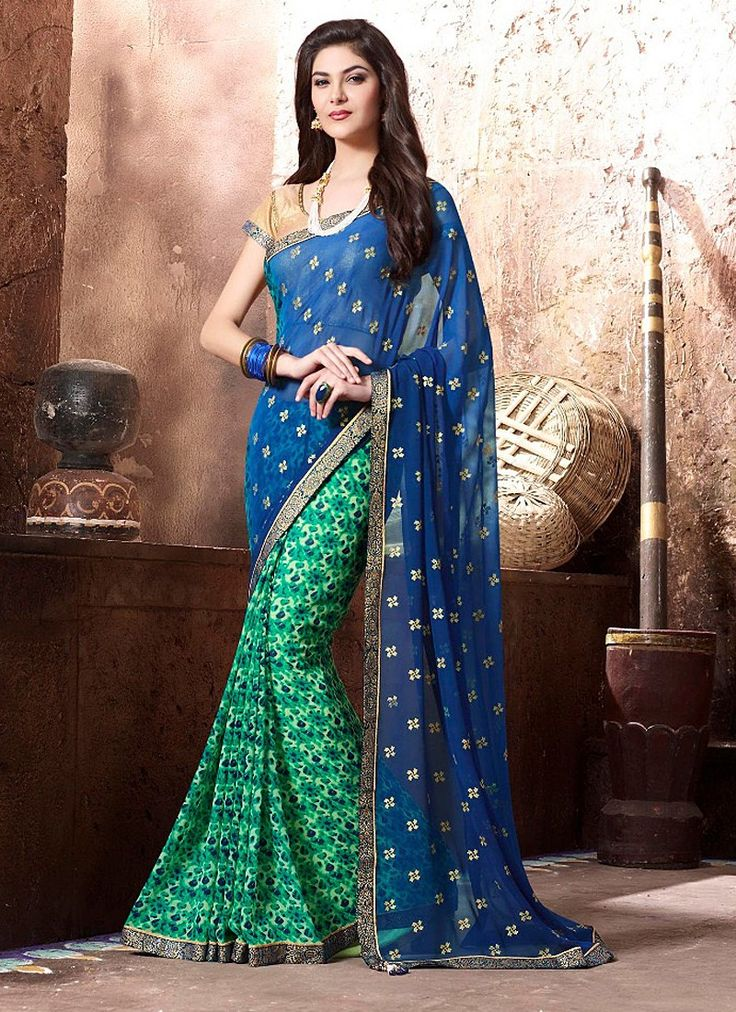 Embellish Royal Blue and Green Coloured Georgette Digital Print Indian Designer Saree At Best Price By Uttamvastra - Online Shopping For Women