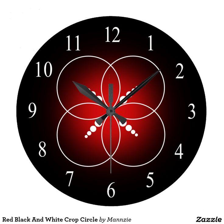 Red Black And White Crop Circle Large Clock