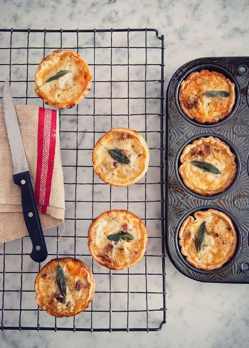 American Breakfast quiches (with crispy bacon and potato hash, maple, eggs, cream and sage). Soooo good! :-)