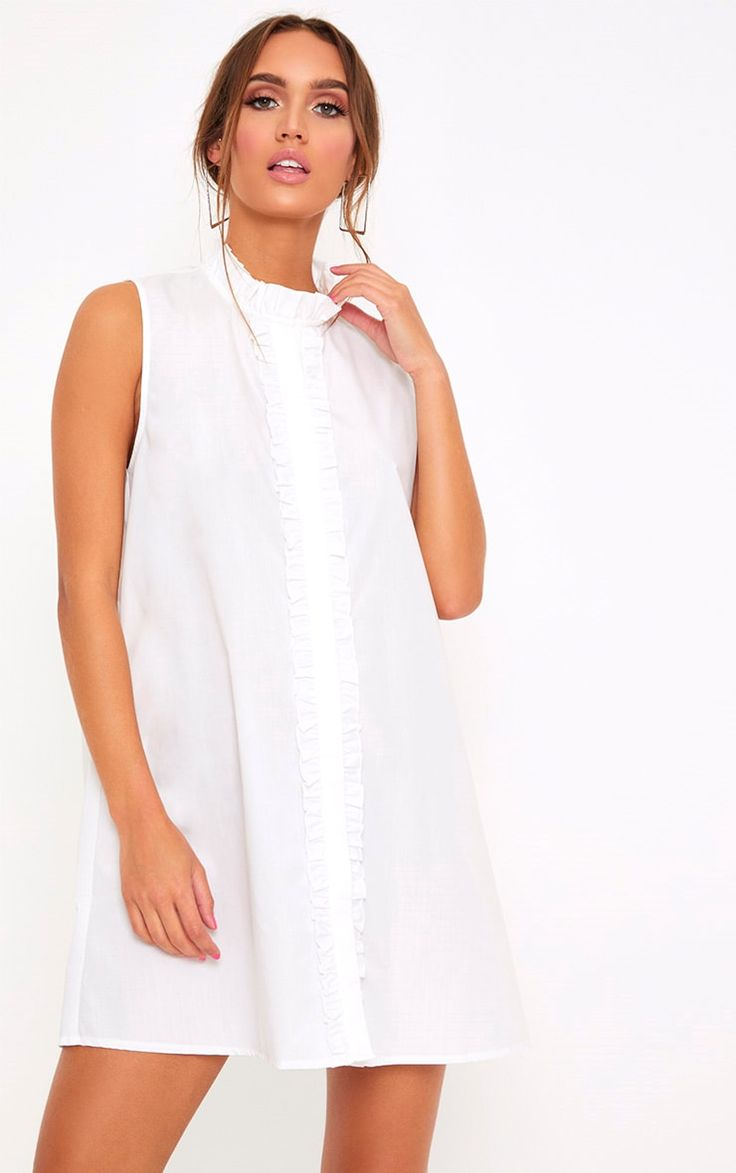 White Cotton Frill Sleeveless Shift Dress