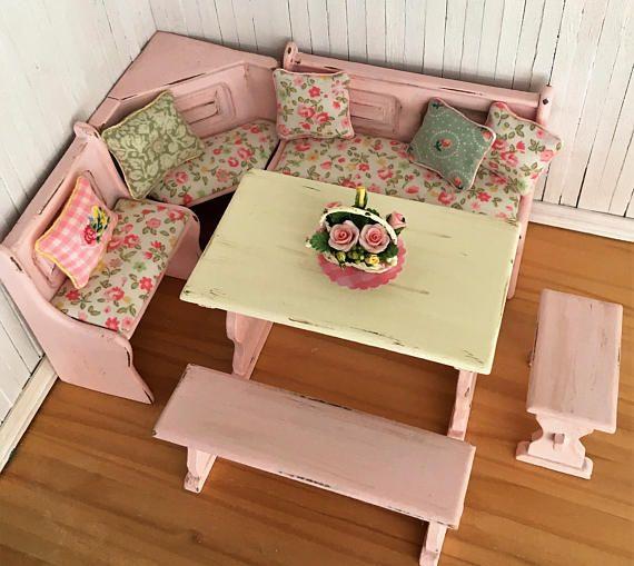 Miniature Shabby Chic Kitchen Corner Dining Set With Trestle