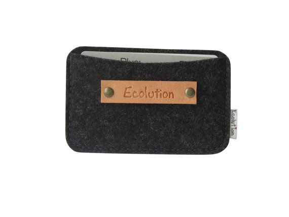 Monogrammed Business Card Holder-Wallet-Eco Friendly - Charcoal - Silver Grey- Handmade- Great Gift for men