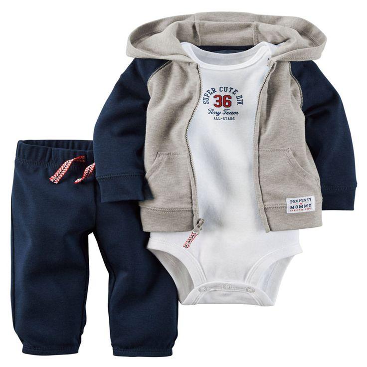 2017 bebe asli bebes bayi laki-laki pakaian set berkerudung kardigan set karter bayi musim semi musim gugur pakaian set retail