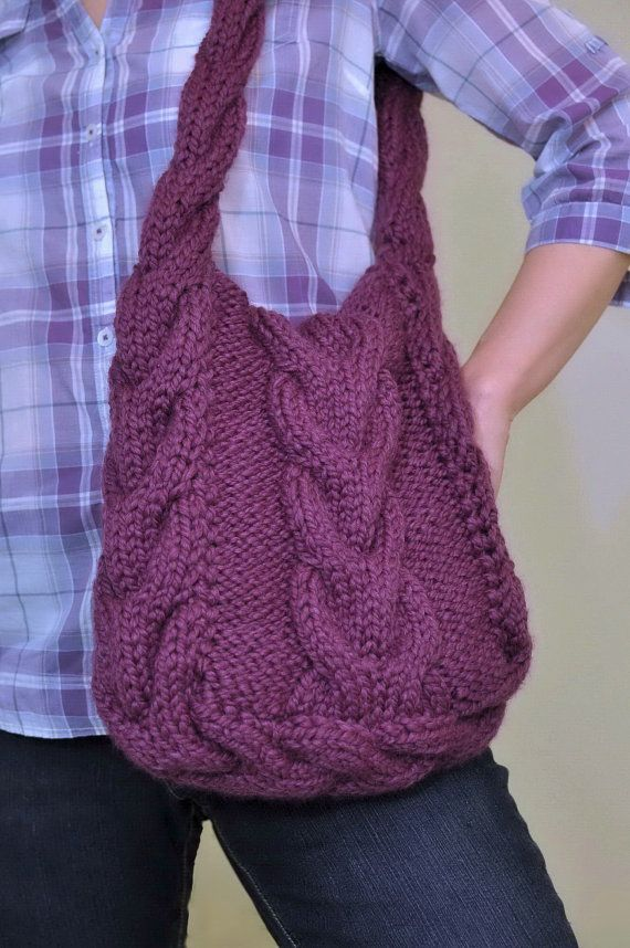 Hand knit cable shoulder bag tote crossbody by EveldasNeverland, $180.00