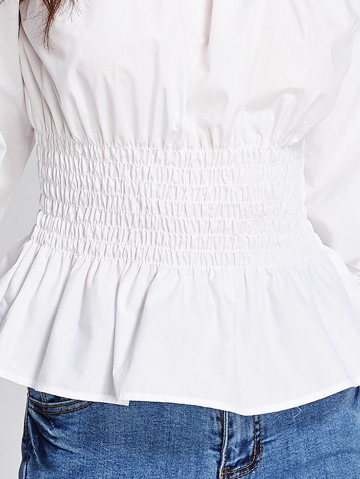 Shop Shirred Frill Trim Blouse online. SheIn offers Shirred Frill Trim Blouse & more to fit your fashionable needs.