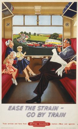 'Ease the strain - go by train', BR poster, c 1950s.