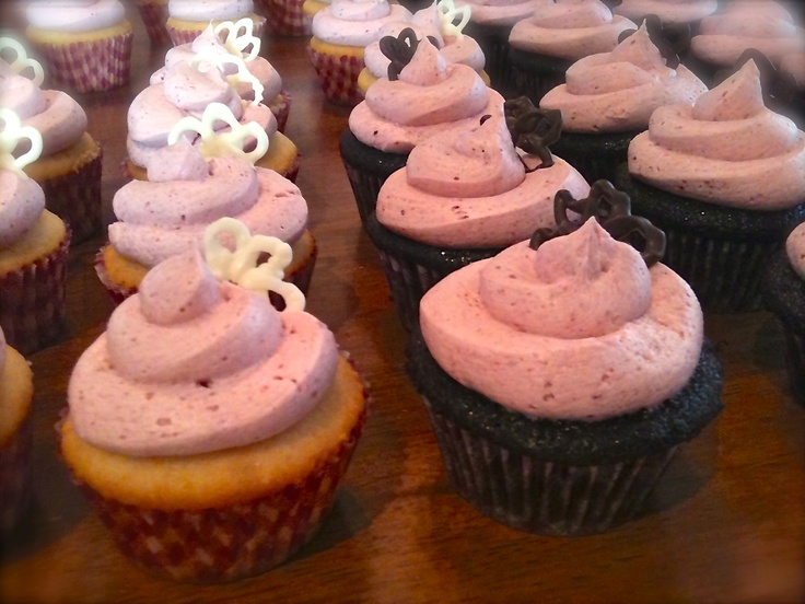 Vanilla cupcake with Saskatoon Buttercream, and Dark Chocolate cupcake with Saskatoon Buttercream - $2.00 each - photographed by Michelle Brazeau - All rights reserved