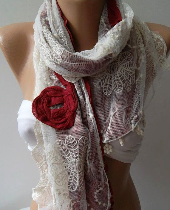 Red  Elegance Shawl / Scarf with Lace Edge by womann on Etsy