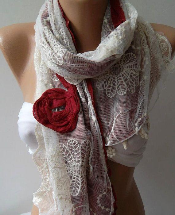 Red  Elegance Shawl