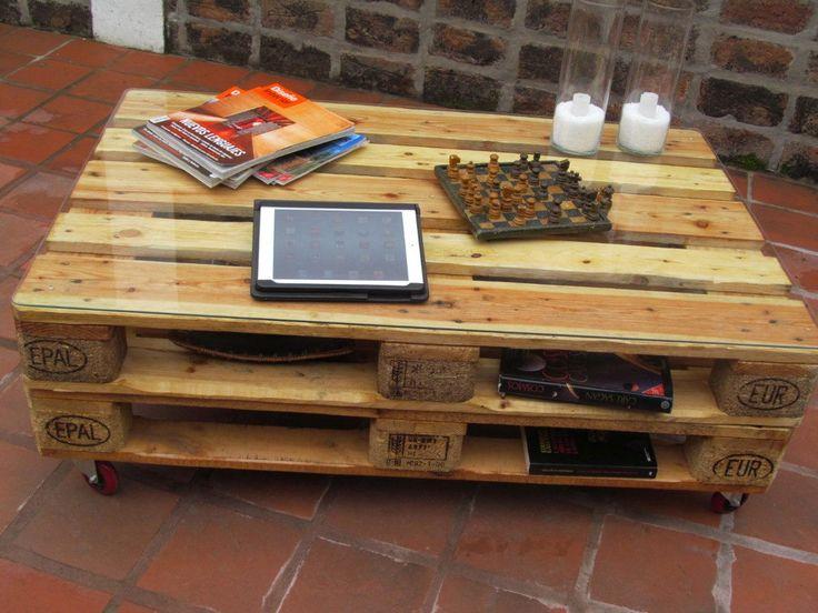 Mesas De Madera(palet) Y Vidrio Con Ruedas, Color A Eleccion