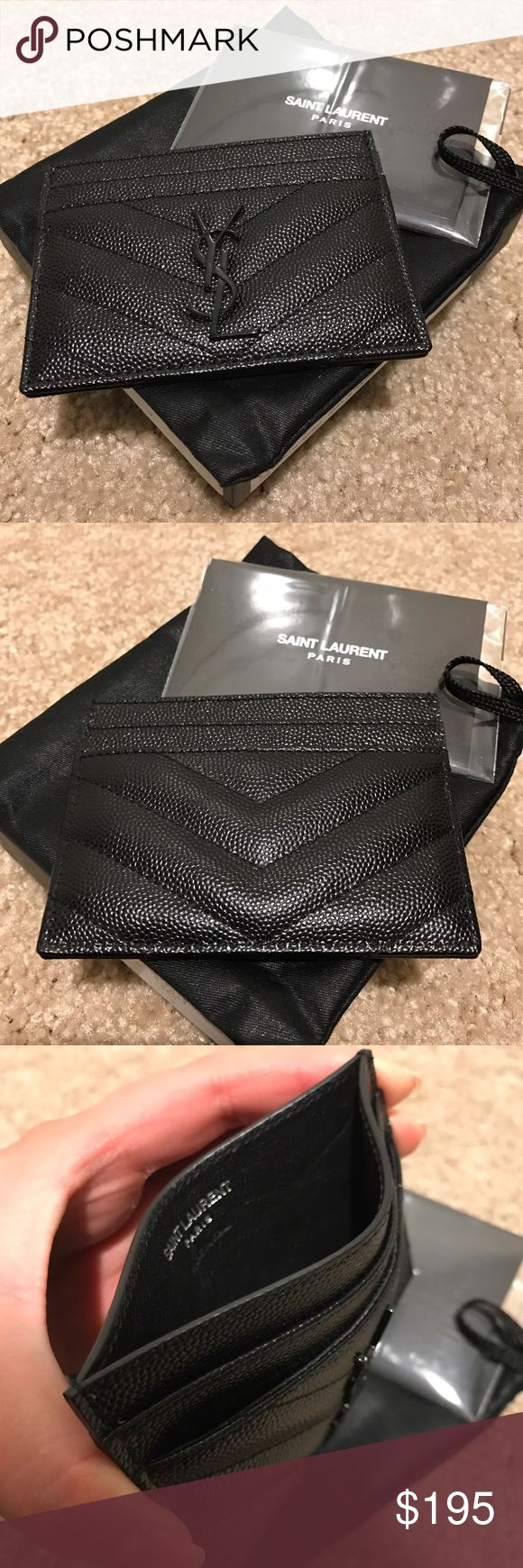 YSL Card Holder Rare YSL Card Holder/Wallet. Gently Used. Almost New. Black with Black Hardware. Comes with Original Box, Dustbag and Tags. Yves Saint Laurent Accessories Key & Card Holders