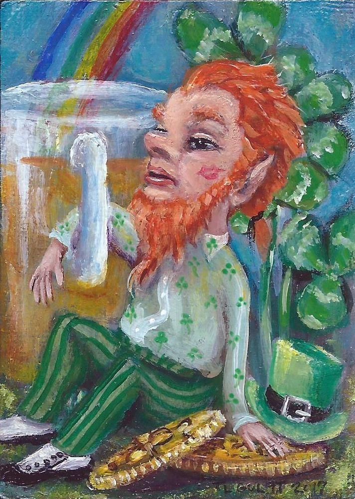 #ACEO TW MAR Original #Miniature Acrylic #Painting #Leprechaun #Rainbow #Beer Gulat #FolkArtOutsiderArt