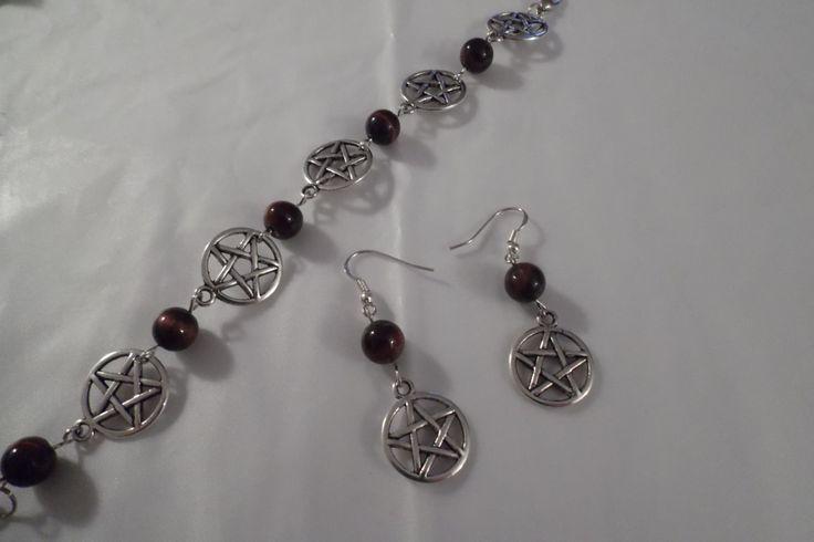 Red Tiger Eyes Gemstone Pentacle Jewelry Set - Bracelet & Earrings by HealingAuras on Etsy