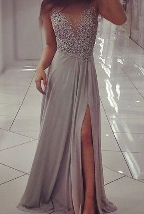 High Quality Slit Grey Chiffon with Beadings and Sequins, Grey Evening Dresses, Long Formal Dresses