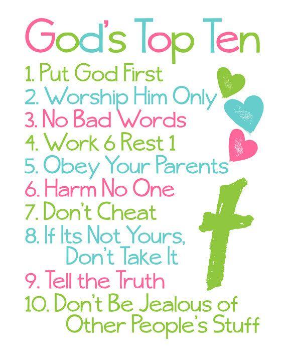 ... Wall Art. Ten Commandments. Bible Verse. God's Top Ten for Kids