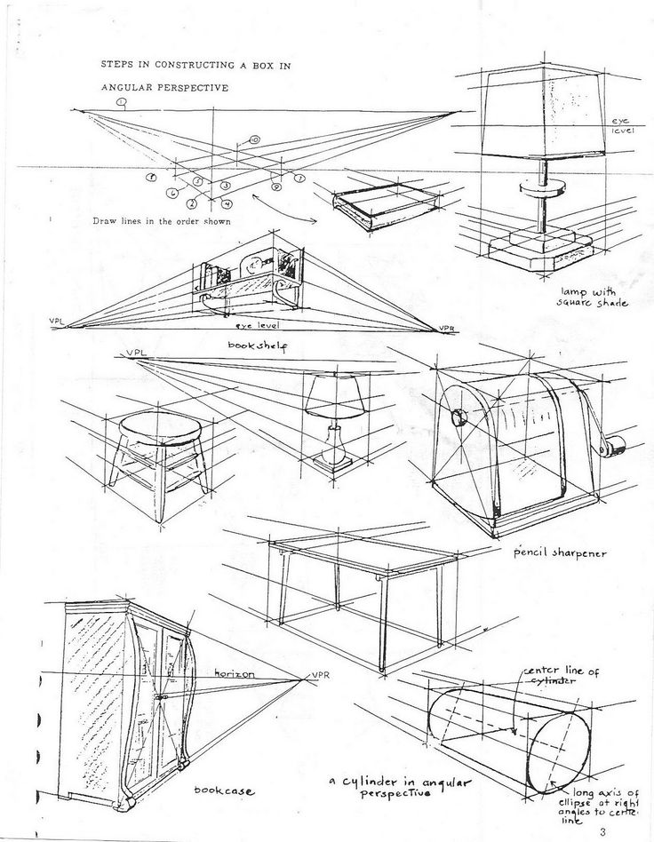 Scribble Drawing Objects : Point perspective worksheet scenarios for objects