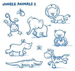 Vektor: Cute cartoon jungle safari animals. elephant, monkey, lion, rhinoceros, zebra, panda bear, cocodile. Hand drawn doodle vector illustration.