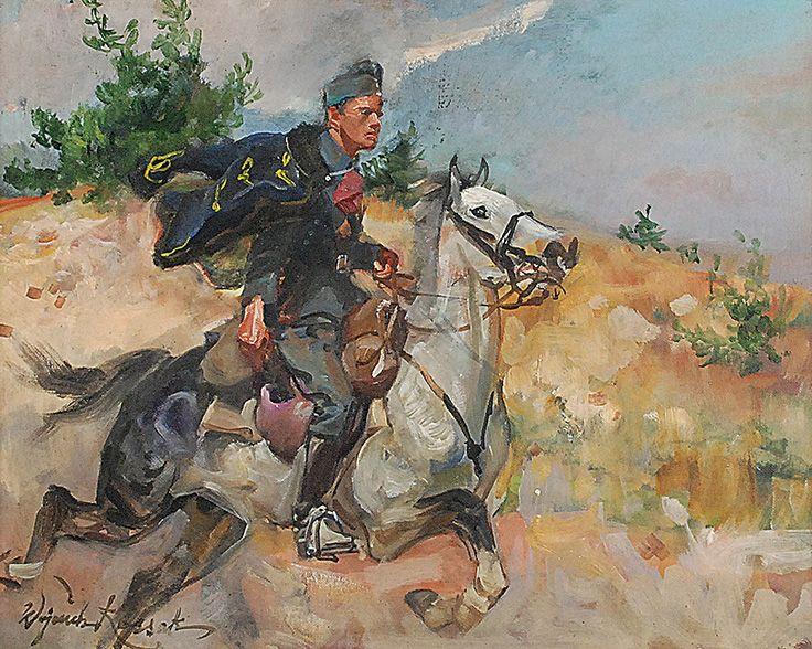 Wojciech KOSSAK (1856-1942)  Ułan na galopującym koniu, ok. 1925 olej, tektura; 40 x 50 cm; sygn. l. d.: W Kossak; na odwrocie czerwona pieczęć lakowa z herbem Kos rodziny Kossaków