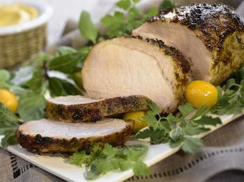 This simple roast pork loin recipe is seasoned with an aromatic herb and garlic rub and then roasted to perfection.