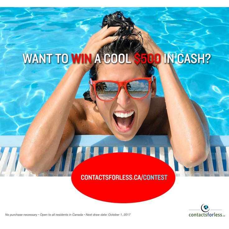 Want to win a cool $500 in cash?  Enter our #contest at www.contactsforless.ca/contest with just a few clicks.  It's so easy!  No purchase necessary • All residents in Canada are welcome to join (only Canada, sorry!) • Next drawing October 1, 2017  Hurry!  Don't miss out!  #contestalert #giveaway #free