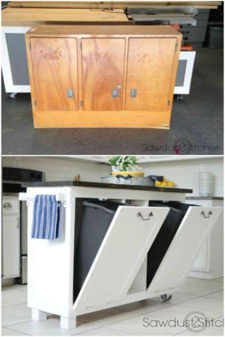 For a simple DIY kitchen remodel, hang onto that old cabinet. It's easily repurposed into a trendy t... - COURTESY OF COREY/ SAWDUST 2 STITCHES