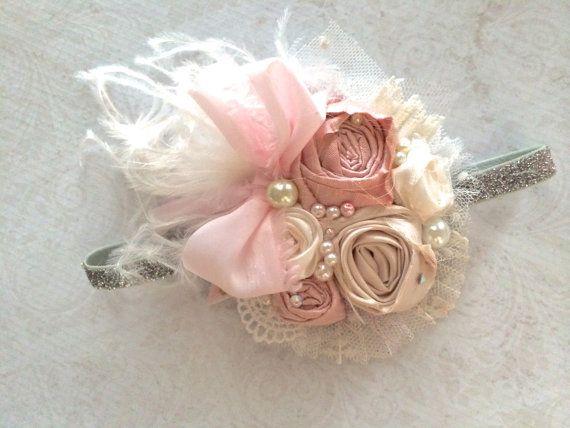 Sweet Innocence.Baby Girl Headband.Soft Colors Headband.Newborn Headband-Boutique Headband-Christmas Headband
