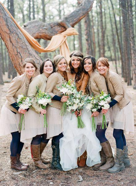 Bridesmaids' dresses: Express / Bridesmaids' jackets: Forever 21 - Colorado Springs Wedding captured by Cassidy Brooke - via ruffled