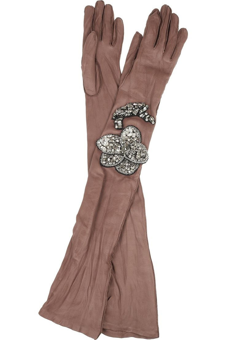 Vintage ladies leather opera gloves - Lanvin Long Gloves Mocha Leather Crystal Embellished Flower Inverted Seams Fully Lined Specialist Clean Leather Lamb