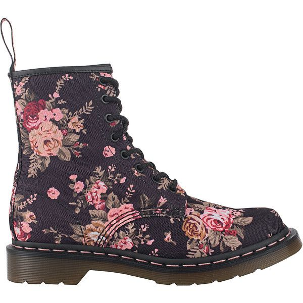 DR. MARTENS Victorian Flowers 8 Eyes // Canvas lace up boots ($175) ❤ liked on Polyvore featuring shoes, boots, flower boots, victorian boots, dr martens boots, floral boots and floral canvas shoes