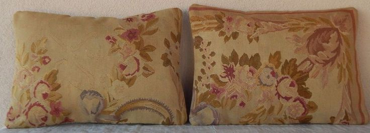 14X20 Floral Needlepoint Tapestry Aubusson Cottage Kilim Pillow Cover  Set of 2 #Handmade #FrenchCountry