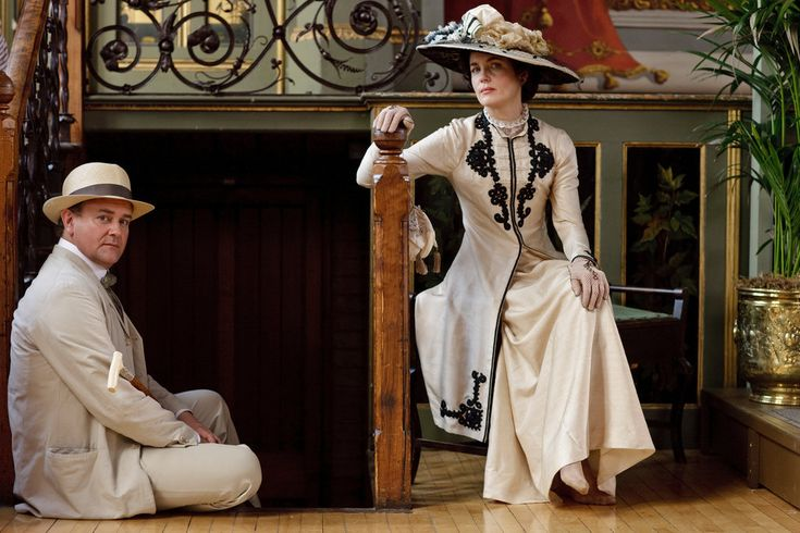 "Hugh Bonneville and Elizabeth McGovern as Lord and Lady Grantham in ""Downton Abbey."""