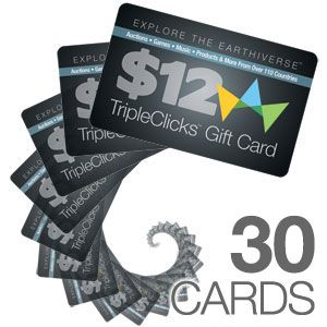 Spread the word about TripleClicks.com and attract new customers with TripleClicks Gift Cards! These standard plastic gift cards come in packs of 30, feature an attractive TripleClicks logo design, and are redeemable for $12 each at TripleClicks.com.