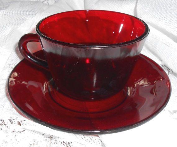 Vintage Tea Cup & Saucer Ruby Red Glass Tea Cup Red by TheBackShak, $10.00