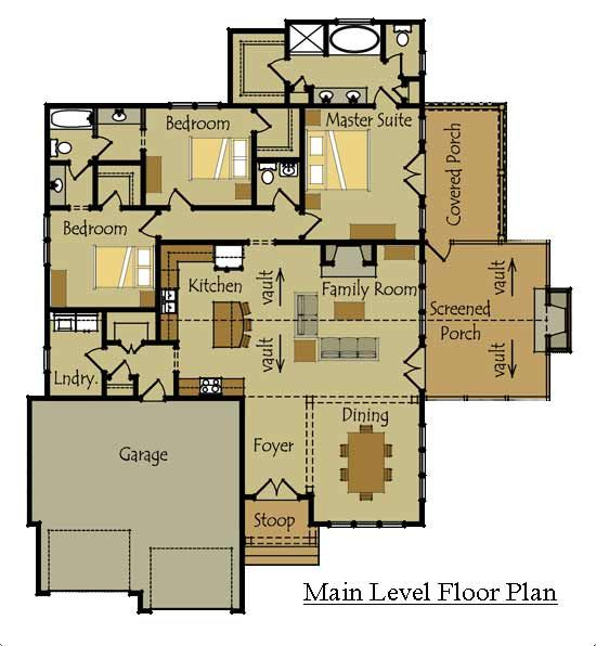 One story cottage style floor plan for the home pinterest Single story floor plans with open floor plan