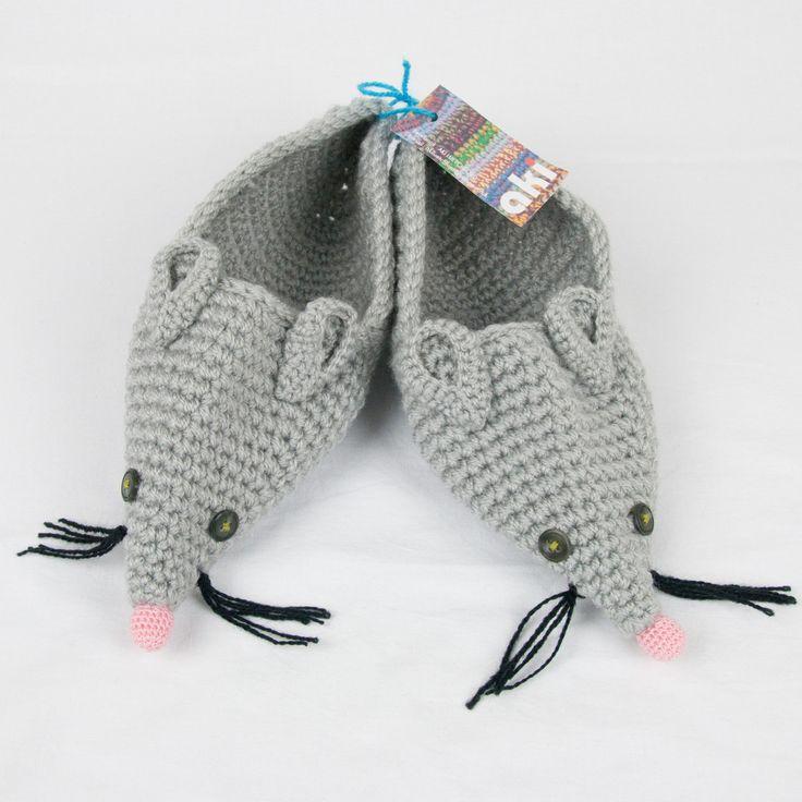 Aki Crochet Mouse Slippers