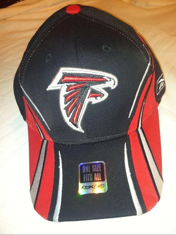 New NFL ATLANTA FALCONS Logo BLACK RED WHITE Flex Fit Hat cap NWT by Reebok #Reebok #AtlantaFalcons