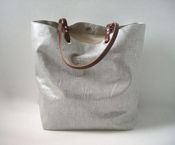 Linen Beach Bag, Metallic Fabric Bag, Silver Tote Bag, Casual Summer Handbag by IndependentReign