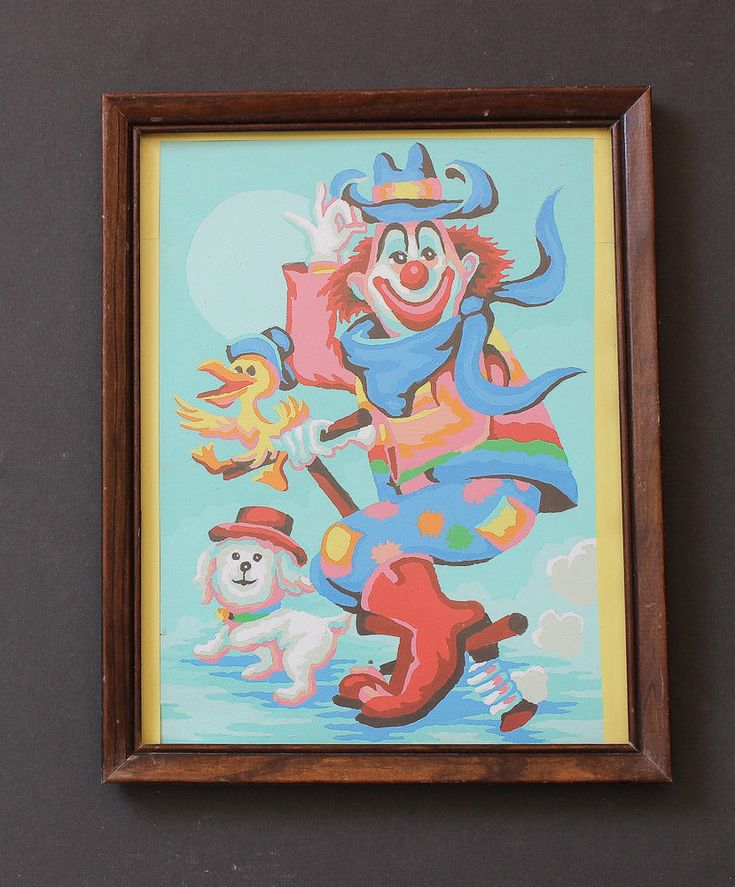 Vintage Paint by Number Kitschy The Clown on Pogo Stick