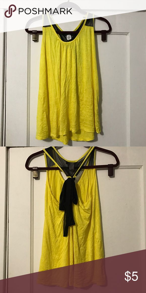 Flowy Tank Top Yellow tank with black tie accent on the back. Tops Tank Tops