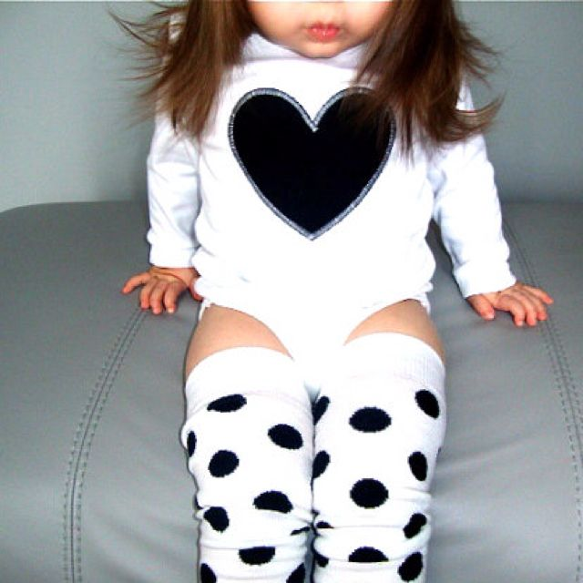 Polka Dot Black and White Heart Onesie Leg Warmer Set