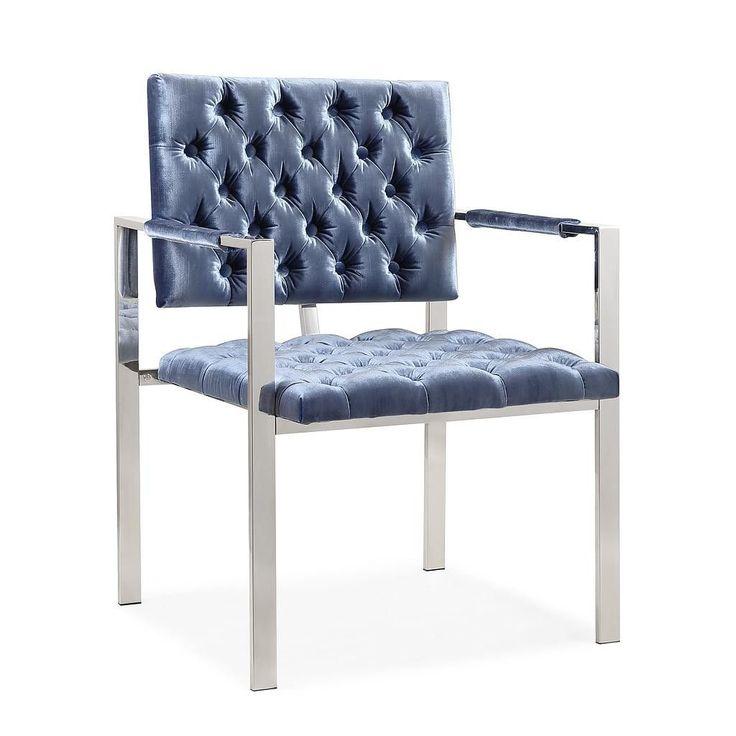 Emma Shimmery Blue Velvet Chair
