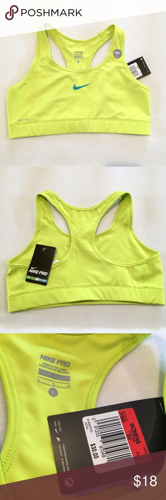NWT Nike Pro Neon Yellow Sports Bra Neon yellow sports bra with blue Nike check by Nike Pro.  Size Large.  New with tags! Nike Intimates & Sleepwear Bras