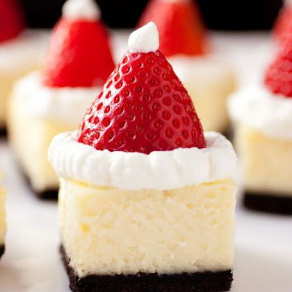 Easy Homemade Holiday Appetizers- Santa Hats Cheesecake Bites -  Click pic for 24 Christmas Finger Food Ideas