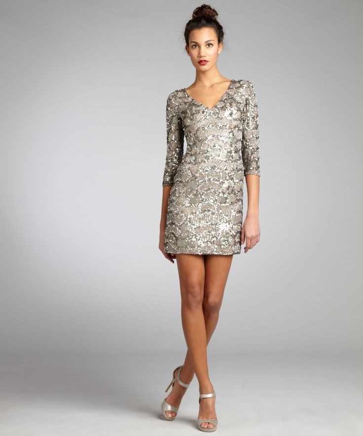 Wyatt Silver And Gold Sequin Silk Long Sleeve V Neck Party Dress Style 320825301