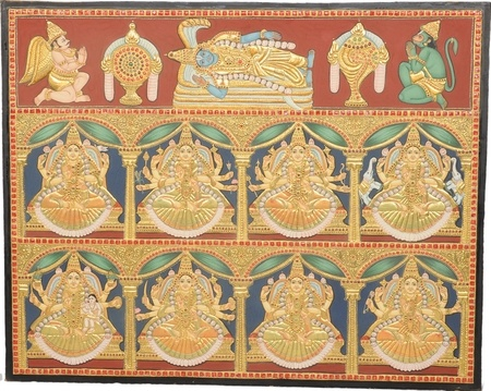 Tanjore Paintings - Antique Ashta Lakshmi