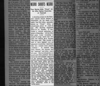 """Osa Nell""""Freck"""" Allen death by Tony Burton News on July 24, 1914 on page 8"""