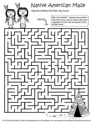 Education World: Native American Maze