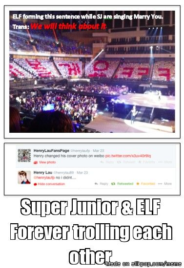 ELFs and suju are so sassy to each other. I love it! So happy to be part of this fandom!