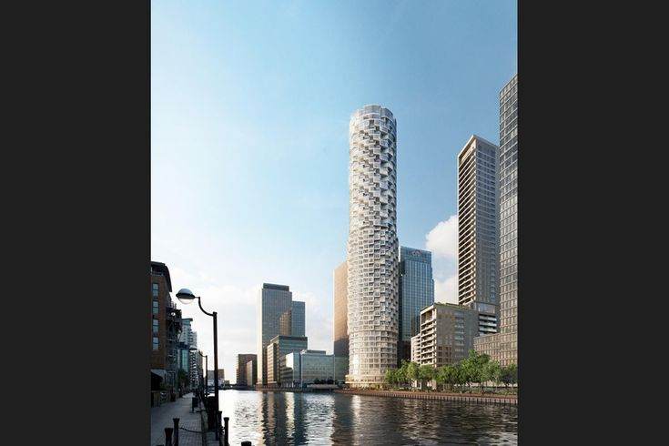 Full view of one park drive canary wharf by herzog de meuron