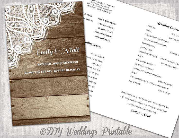 rustic wedding program printable program template wood lace diy you edit digital country wedding program download